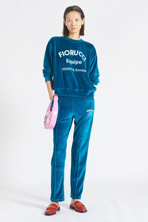 Equipe Logo Velour Joggers Blue