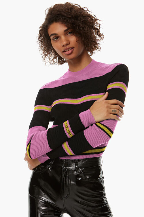 Stripe Rib Logo Sweater