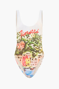 Portofino Print Swimsuit White