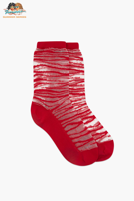 Les Girls Les Boys Static Mesh Socks Red