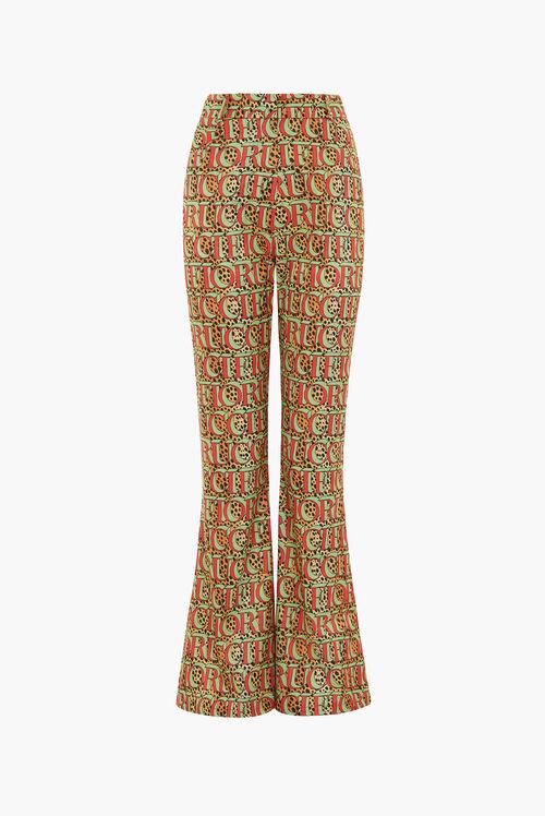 Leopard Print Logo Flared Trousers Multi