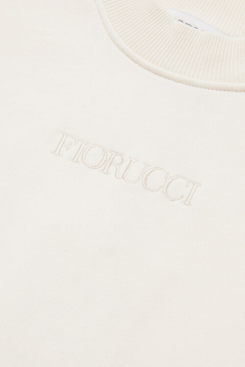 Embroidered Logo Crop Sweat Off White