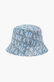 Snow Leopard Logo Print Bucket Hat Blue