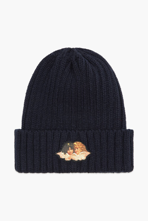 Angel Ribbed Beanie Hat Navy