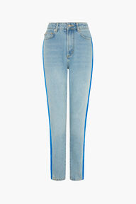 Tara Tapered Logo Jeans Blue