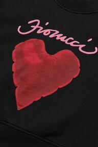 Red Heart Crop Sweatshirt Black