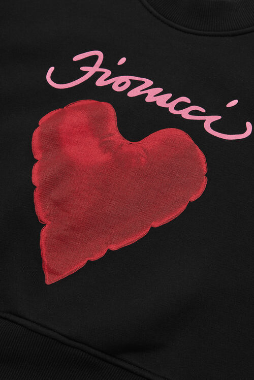 Red Heart Crop Sweatshirt Black