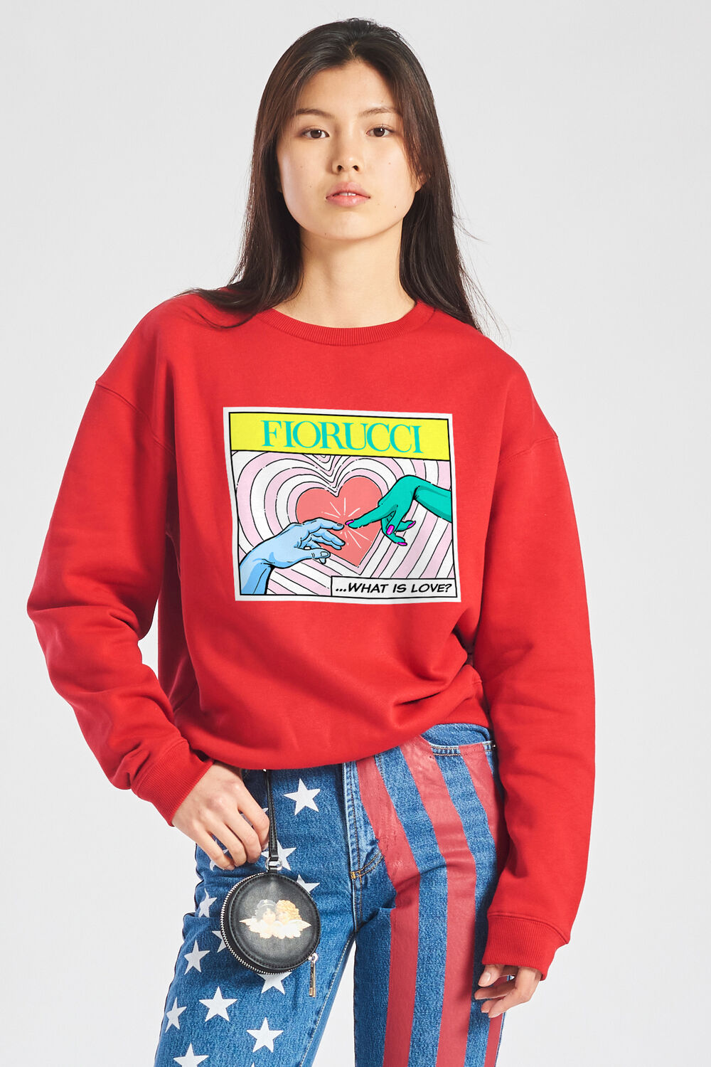 Unisex What Is Love Print Sweatshirt Red