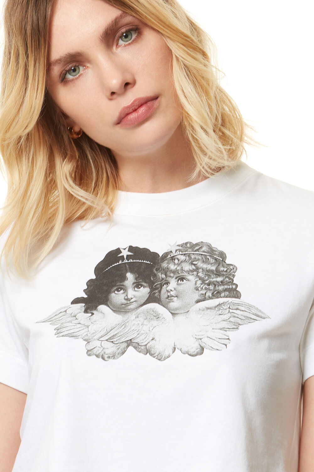 Black & White Crop Angels T-Shirt