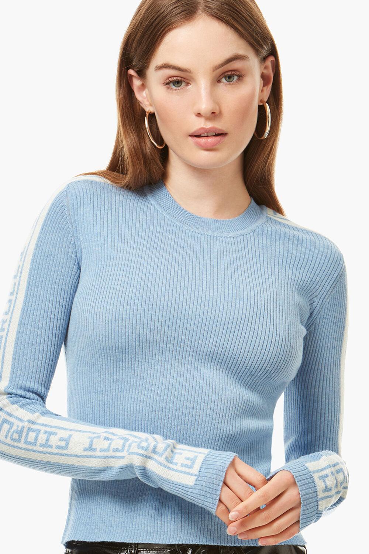 Rib Logo Tape Knit Sweater Pale Blue