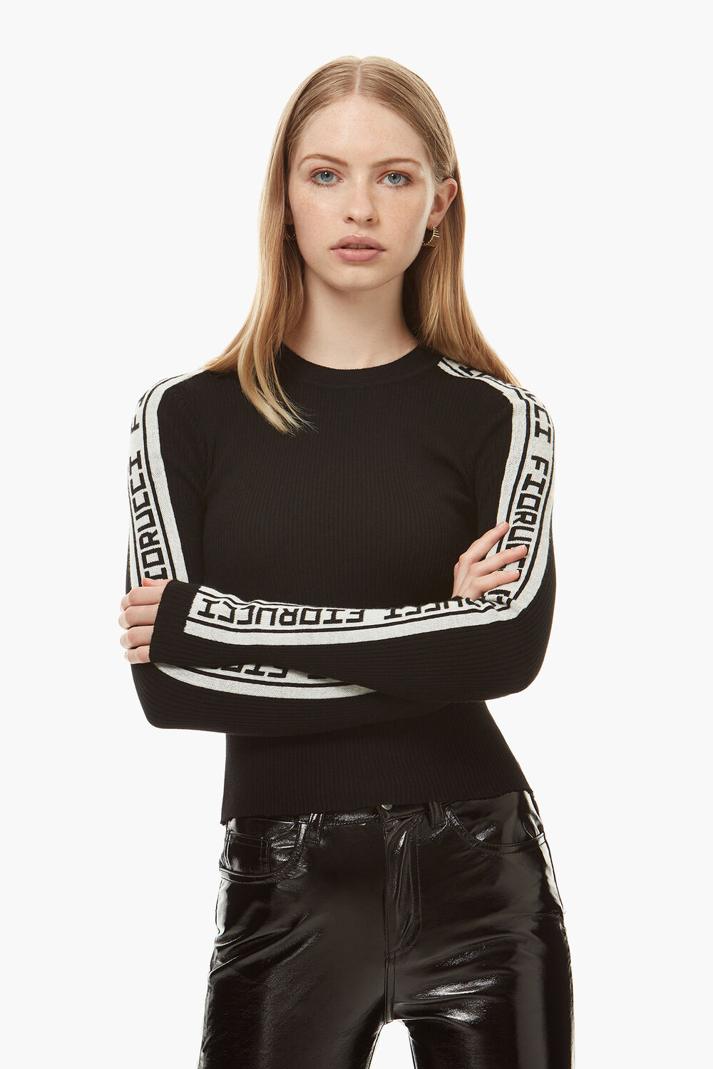 Rib Logo Tape Knit Sweater Black
