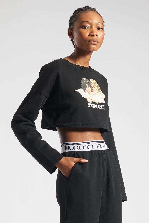 Angels Crop Sweatshirt Black