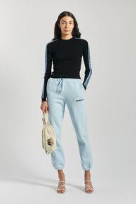 Rib Blue Logo  Knit Sweater Black