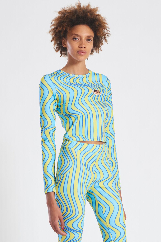 Wave Print Long Sleeve Top Blue