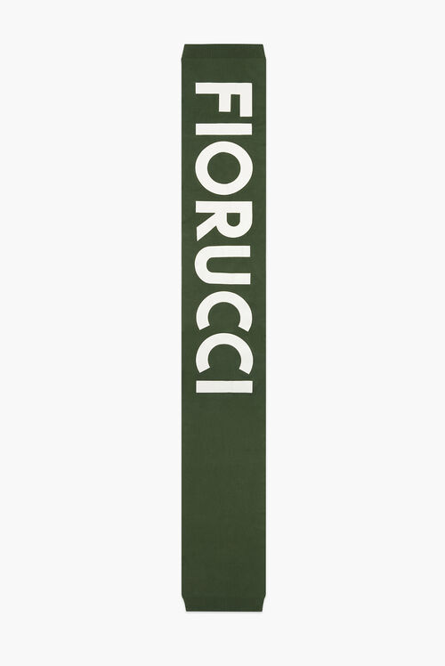 Graphic Logo Embroidered Scarf Green