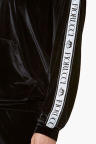 Velour Tape Logo Hoodie Black