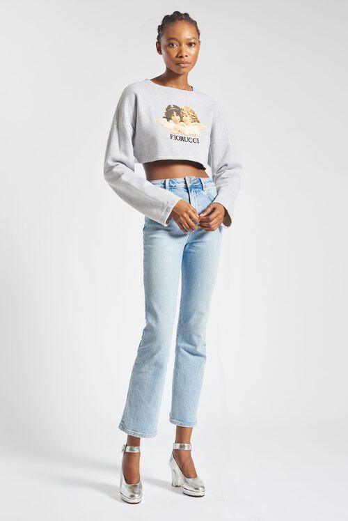 Angels Crop Sweatshirt Light Grey
