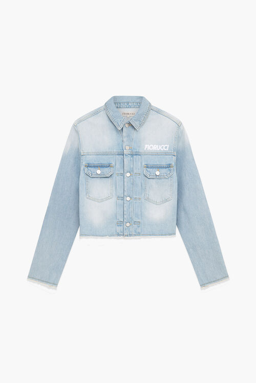Berty Martini Crop Denim Jacke Blue