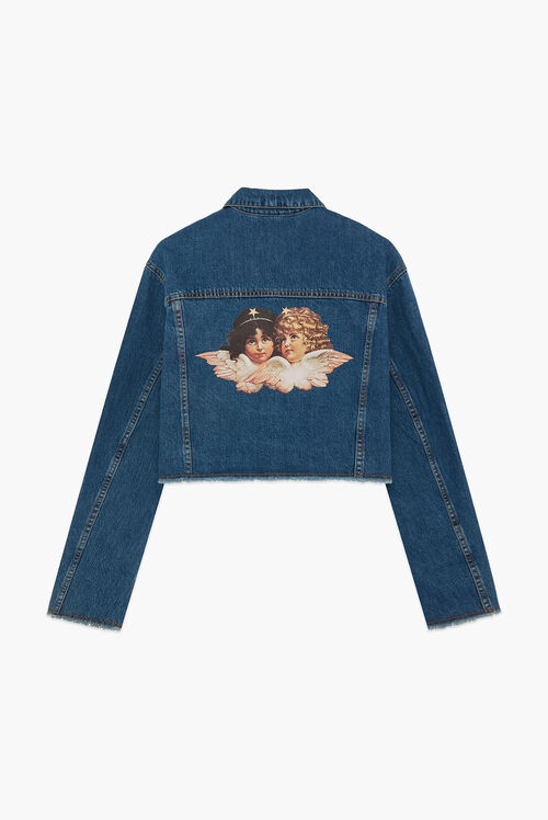 Berty Crop Denim Jacket Dark Blue