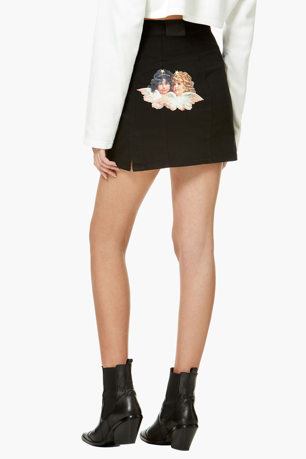 Angels Denim Mini Skirt Black