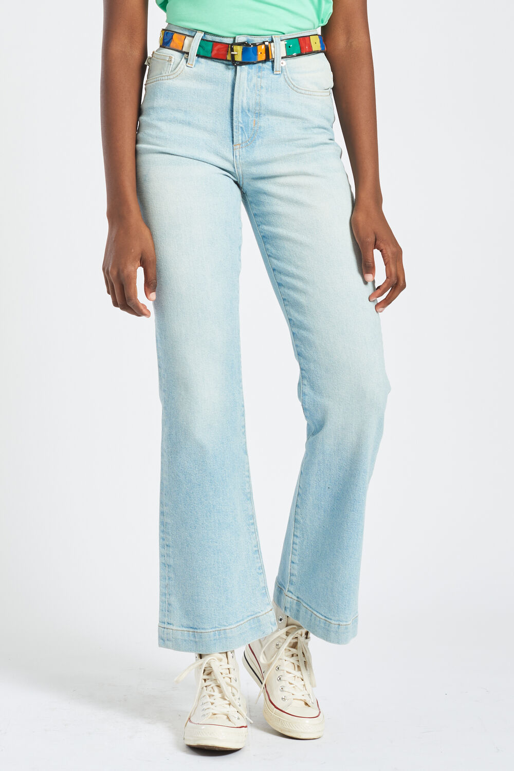 Angels Patch Flared Jeans Blue