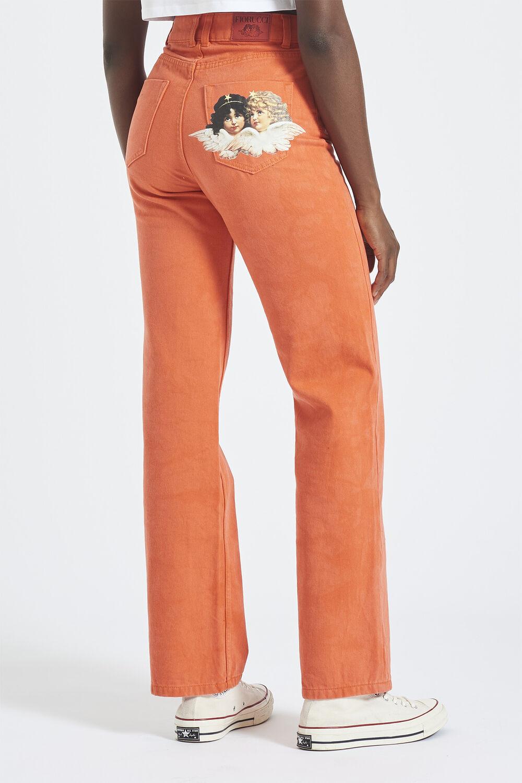 Angel Patch Straight Leg Jeans Orange