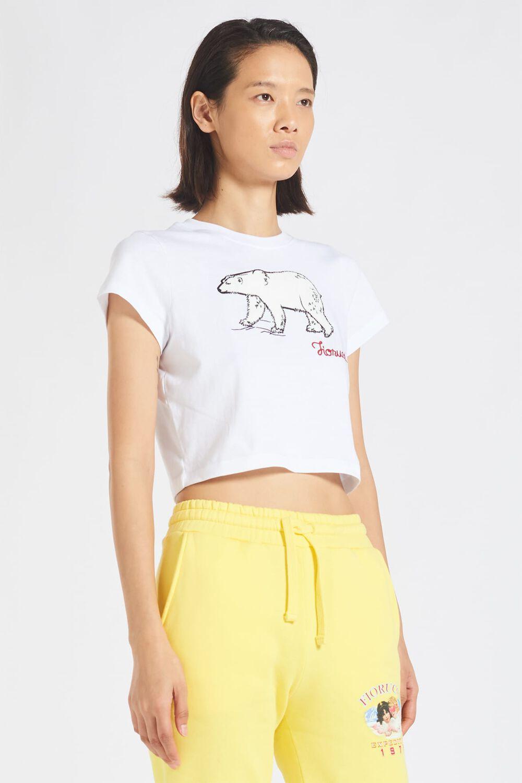 Embroidered Polar Bear White Crop T-Shirt