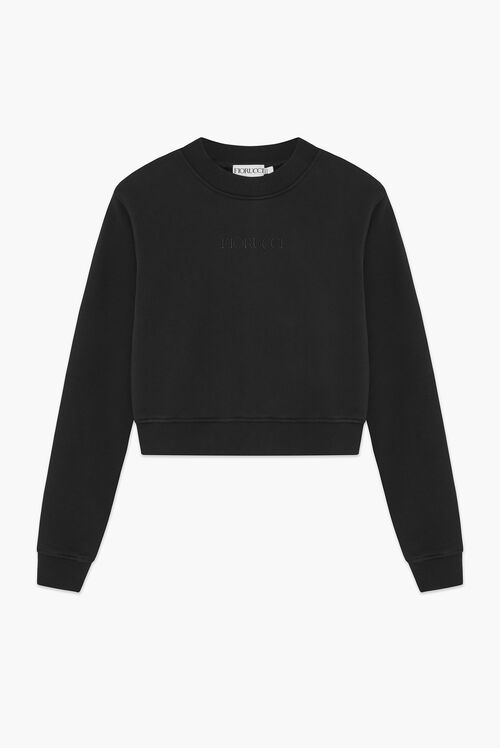Embroidered Logo Crop Sweat Black