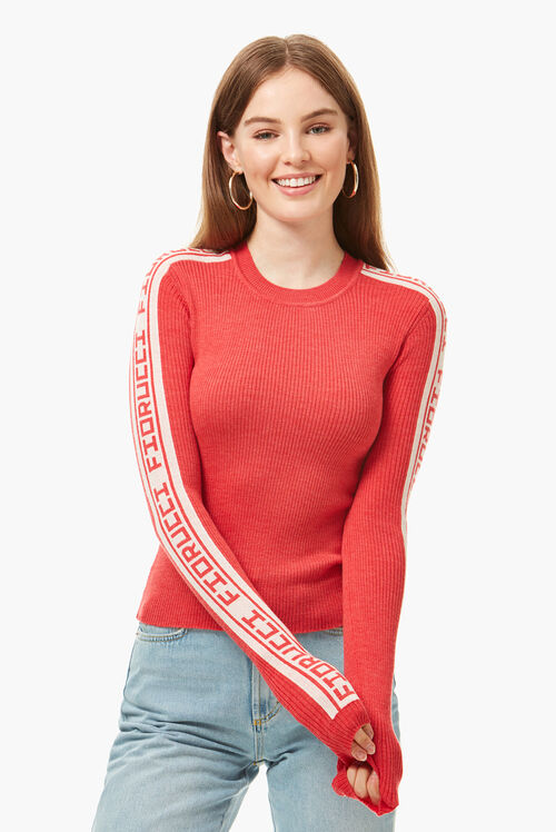Rib Logo Tape Sweater Coral Red