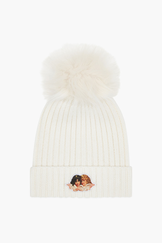 Angels Beanie Bobble Hat White