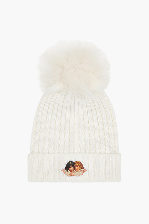 Angels Beanie Bobble Hat White