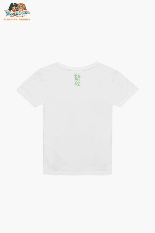 Les Girls Les Boys Floral Print Crop T-Shirt White