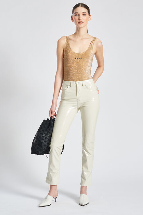 Vinyl Slim Leg Trousers Off White