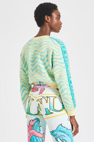 Wavy Knit Jumper Turquoise