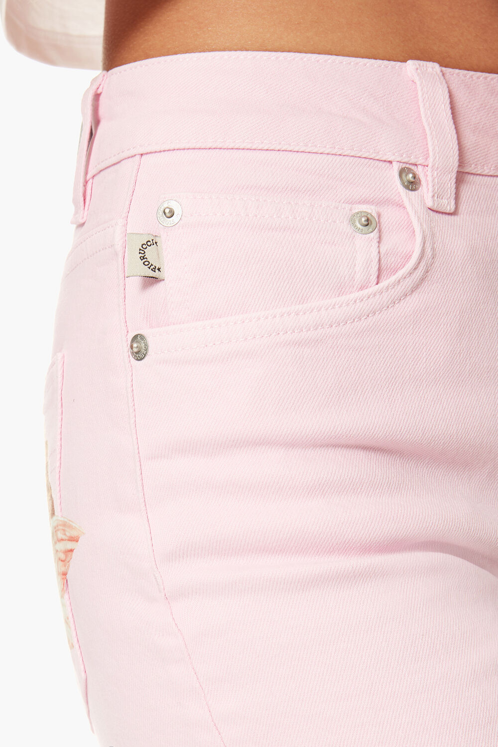 Tara Denim Angels Patch Pink