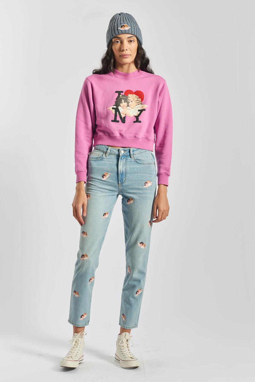 I Love NY Angels Boxy Crop Sweatshirt Pink