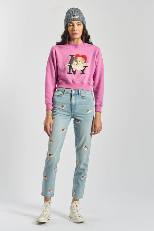 I Love NY Angels Boxy Crop Sweatshirt Pink