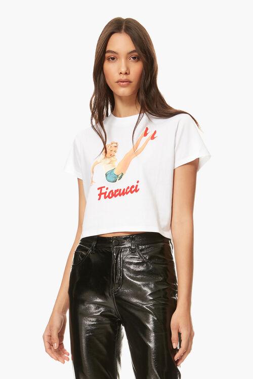 Pin-Up Girl Boxy Crop T-Shirt White