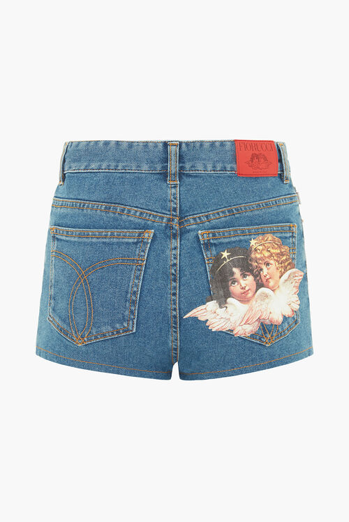 Angels Patch Denim Shorts