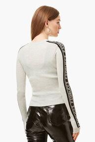 Rib Logo Tape Knit Sweater Grey