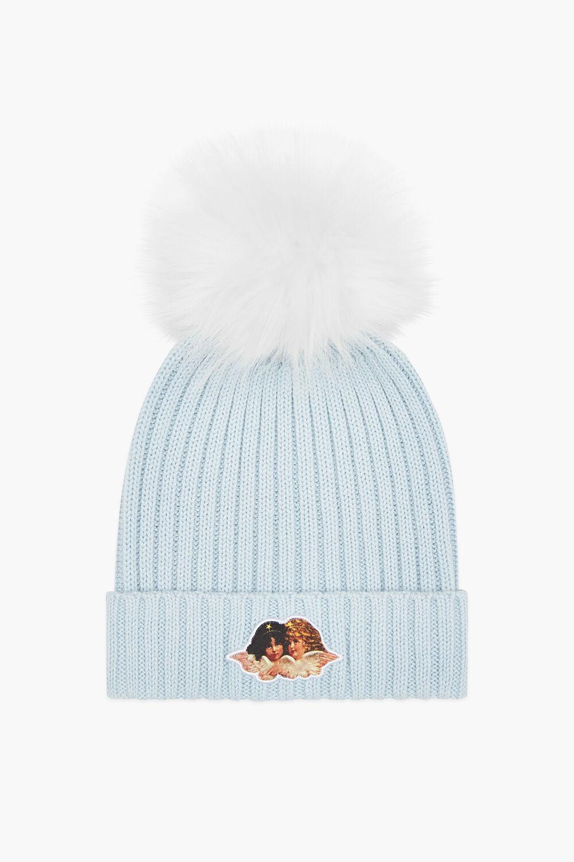 Angels Beanie Bobble Hat Pale Blue