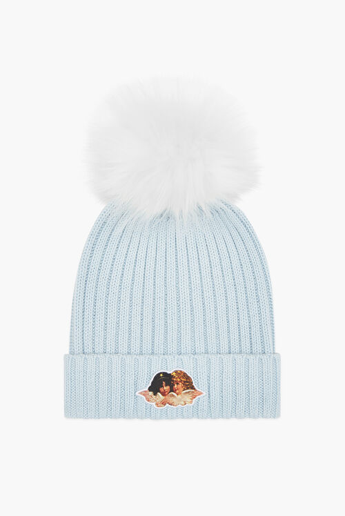 Angels Beanie Bobble Hat Pale Blue