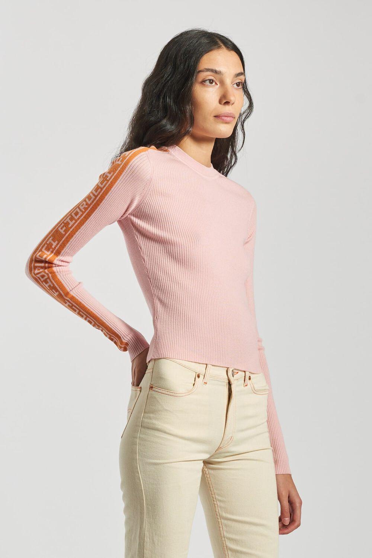 Rib Logo Knit Sweater Pink