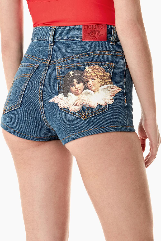 Angels Patch Denim Shorts