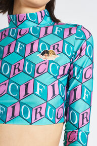 Cubic Monogram Long Sleeve Turtle Neck Crop Top Turquoise