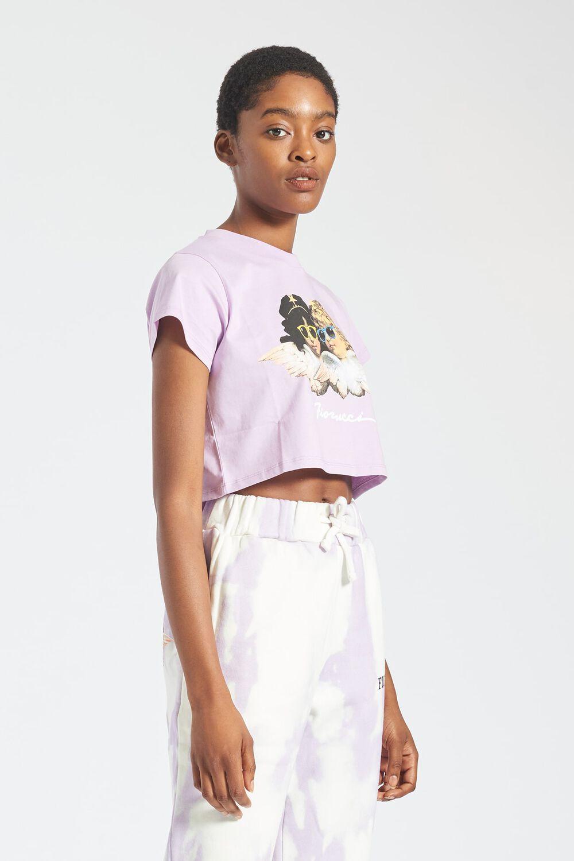 Angels Sunglasses Crop T-Shirt Lilac