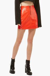 Vinyl Mini Skirt Orange