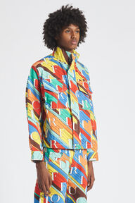 Monogram Print Denim Jacket Multi