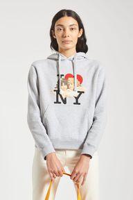 I Love NY Angels Hoodie Grey