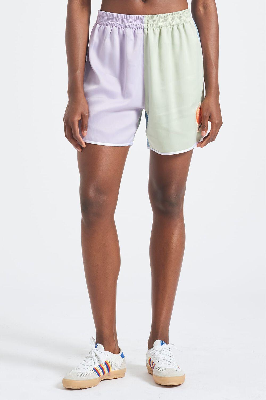 Peach Logo Pastel Satin Shorts Lilac & Green